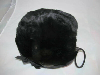 Antique Edwardian Era Black FUR MUFF~Small Scale Could Be Childs Size!