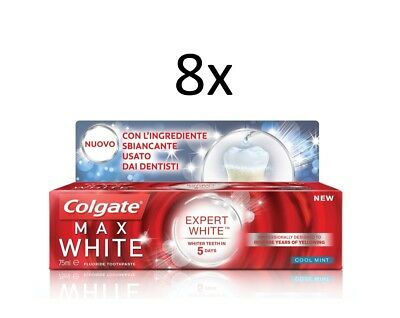 8x Colgate Expert White - Max White - Cool Mint - 75 ml