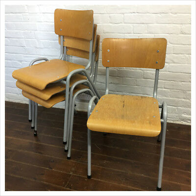 Industrial French Kitchen Dining Vintage Cafe School Mullca Stacking Chairs