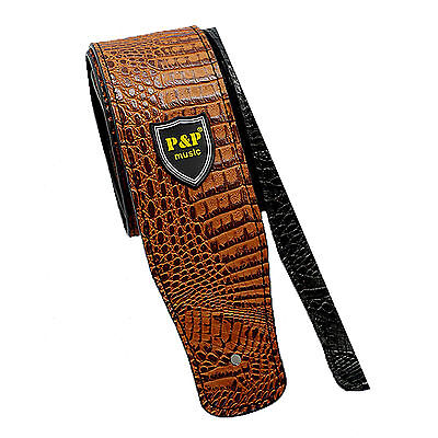 Crocodile PU Leather Guitar Strap Adjustable Range for Acoustic Electric Bass