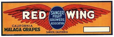 RED WING Brand, Sanger, California *AN ORIGINAL GRAPE CRATE LABEL*