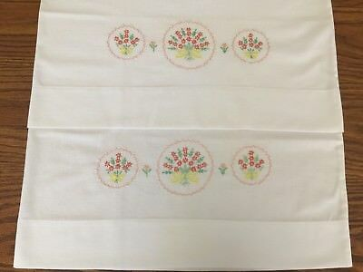 Vintage Embroidered Pillowcases White with Peach yellow floral