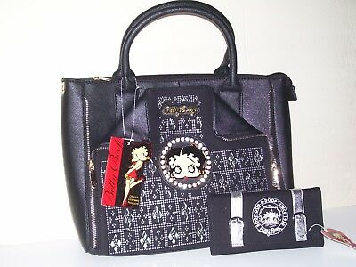 Betty Boop Black with Rhinestone Textured Vinyl Purse 15 x 15.5 With Wallet New