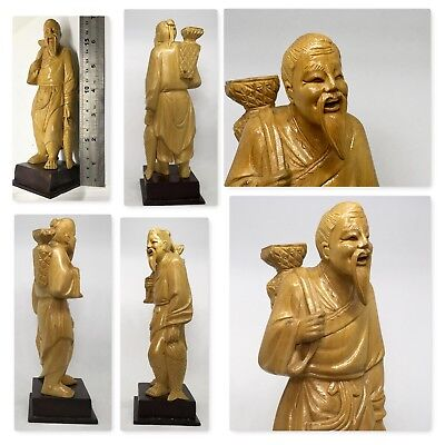 Buddah hand carved Box wood Chinese Deity Fisherman
