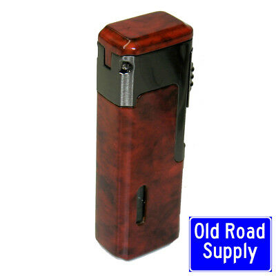 Old Road Wood Quad Red Jet Flame Butane Torch Cigar Lighter Punch Cutter NEW