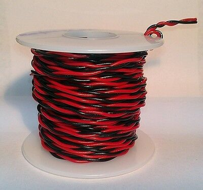 18 AWG UL1007 UL1569 Hook-up Wire BLACK & RED Twisted Pair ~ 25 foot spools