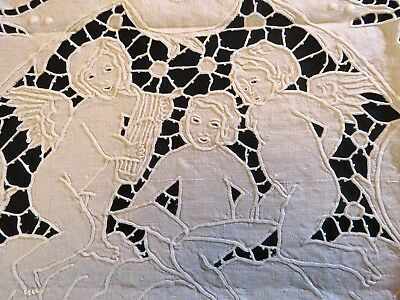 Antique Linen Tablecloth Cutwork Embroidered Off White Square Figural Topper