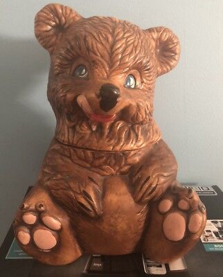 "Vintage 1950s Mid-Century Brown Honey Bear Blue Eyes Ceramic 12"" Cookie Jar"
