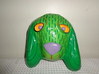 RARE Gina Truex Vintage 80's Art Paper Mache dog puppy Mask wall hanging signed