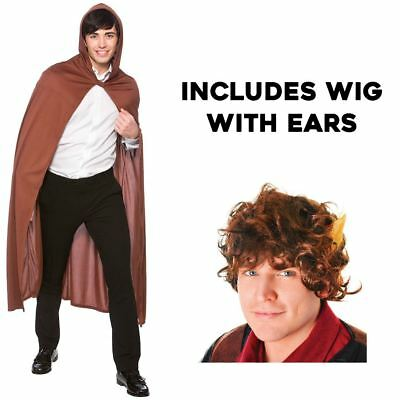 Adult Long Hooded Brown Cape Hobbit Bilbo Baggins Fancy Dress Costume Wig Elf