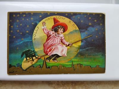 Antique Halloween Hallowe'en Little Witch Girl Rides Broom w Black Cat Postcard