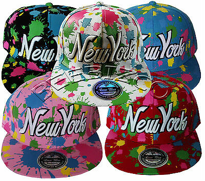 Snapback New York Splash Paint Bling Vintage Flat Peak Hip hop baseball Cap