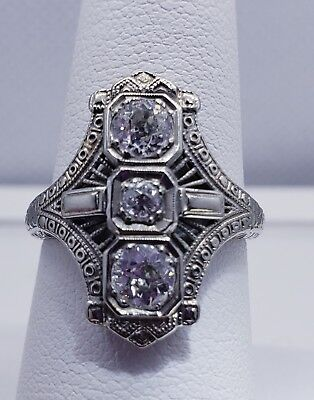 EGL 18K Antique Art Deco Nouveau Diamond Cocktail Ring north south Old European