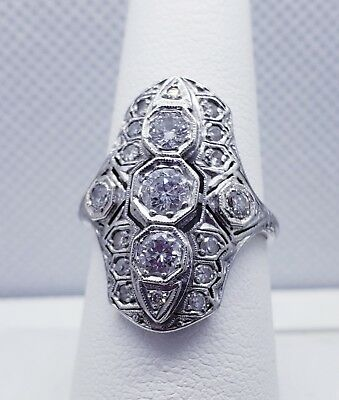1.07 CT EGL Platinum Antique Art Deco Nouveau Diamond Cocktail Ring north south