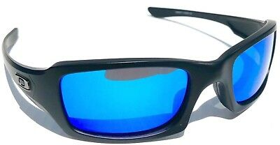 cd6629bc05403 NEW  Oakley FIVES Squared Matte BLACK POLARIZED BLUE   Grey Lens Sunglass  oo9238