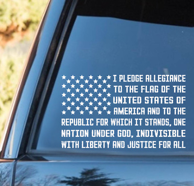 f12cda31a0 American Flag Pledge of Allegiance Vinyl Decal truck Window USA Flag Decal