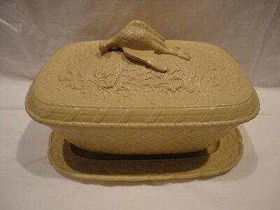 4-Piece Cane Ware Game Dish w/ Partridge Finial Cover Liner Plate Late 1800's