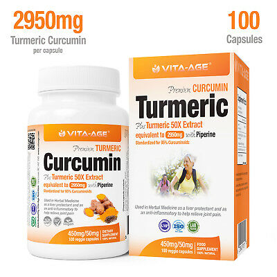 50X Stronger 2950mg Turmeric with Black Pepper 2,000% Bioavailable, 100 Capsules
