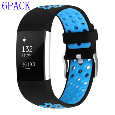 6 PACK Replacement Silicone Watch Wrist Band Strap For Fitbit Charge 2 Wristband