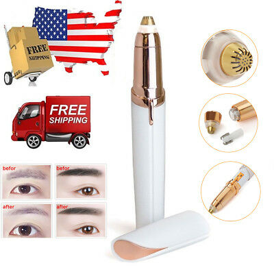 Women's Painless Brows Trimmer Electric Facial Hair Eyebrow Removal LED Light US