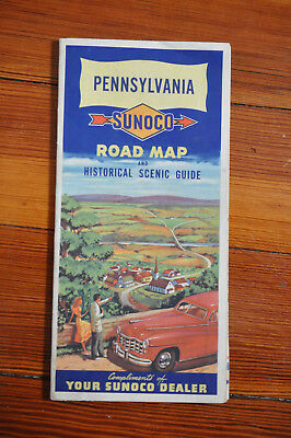 Pennsylvania ~ Sunoco Road Map ~ Historical Scenic Guide ~ 1948 ~ Gas Station
