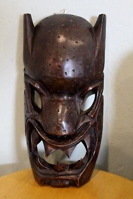 """VINTAGE ~ 12"""" WOODEN HAND CARVED MASK FACE w/ TOOTHY GRIN ~ LQQK!!!"""
