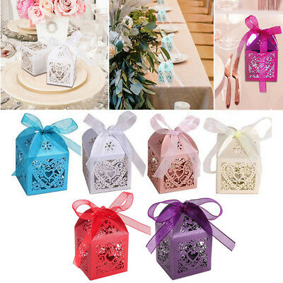 100X Laser Cut Cake Candy Gift Boxes Candle Packing w Ribbon Wedding Favor Boxes