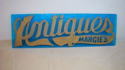 Vintage Antiques Store Sign Hand Painted Blue Glass