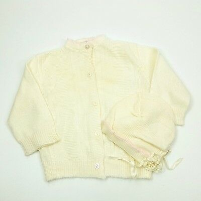 Vintage Baby Sweater White Knitown Orlon Acrylic Button Up Cardigan Pink w Hat
