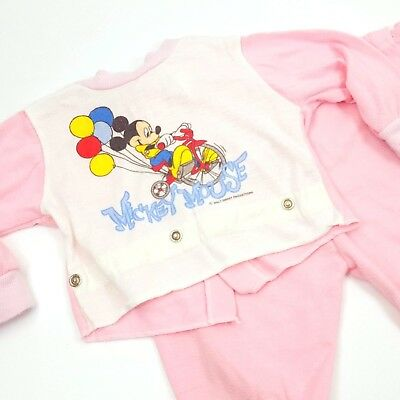 VTG Mickey Mouse Sleeper Pajamas Two Piece Walt Disney Lullaby Land Size 12 Mo