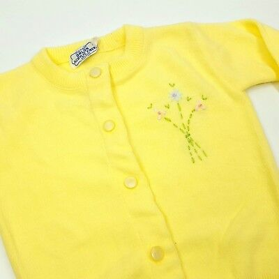 Vintage Baby Sweater Yellow Flowers Orlon Acrylic Sweet Gift Button Up Cardigan