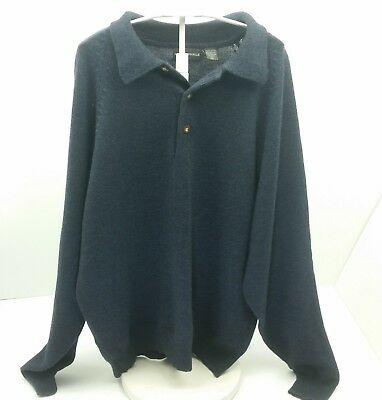 Mark Shale Sweater Mens Size XL Wool Blue Soft Collar Henley Style Button Gray