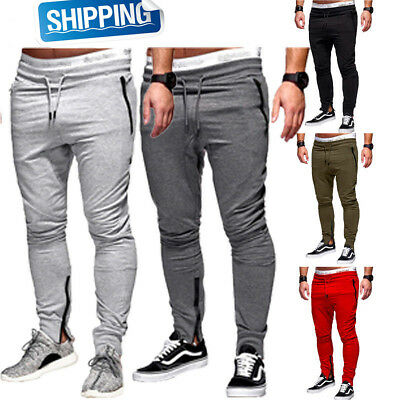 a12158ebb519f2 Mens Gym Slim Fit Trousers Tracksuit Bottoms Skinny Joggers Sweat Track  Pants