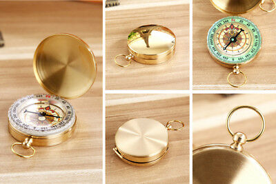 Noctilucent Pocket Compass Vintage Brass Hiking Camping Watch Design #HN8 US