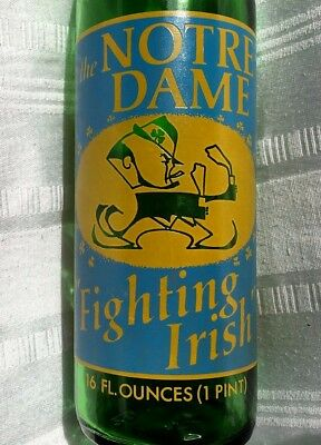 """7-Up salutes the Notre Dame """"Fighting Irish"""" 1973 Commerative Bottle"""