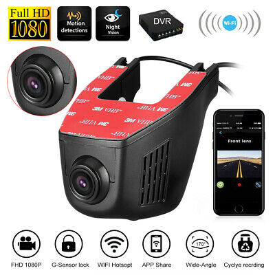 KFZ Autokamera Dashcam Full HD 1080P DVR Video Recorder Dual Lens Vehicle Wifi