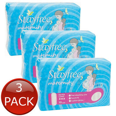 3 x STAYFREE MATERNITY EXTRA LONG CUSHION COTTONY-SOFT COVERS LINER PADS 10 PACK