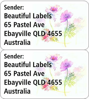 500 Personalised Return Printed Address Labels Mail Name Stickers flowers