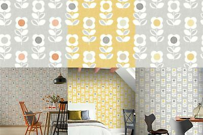 Retro Floral Wallpaper Arthouse Bright Flower Grey Orange Yellow Feature Vintage