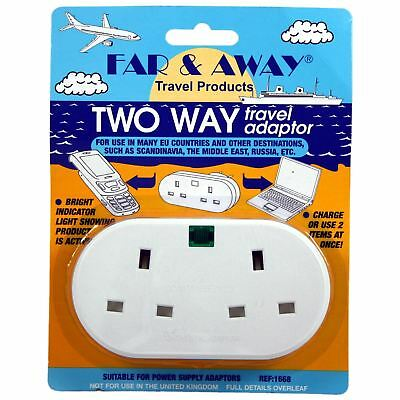 Far & Away UK to EU Euro Middle East Two Way Double Travel Adaptor Power Plug