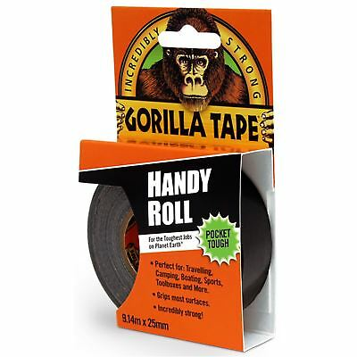 Gorilla Tape 25mm x 9m Handy Roll to Go Strong Thick Duct Tape Adhesive