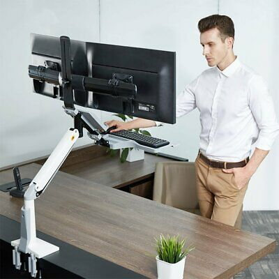 North Bayou FC24-2A Sit Stand Dual Screen Adjustable Monitor Mount White