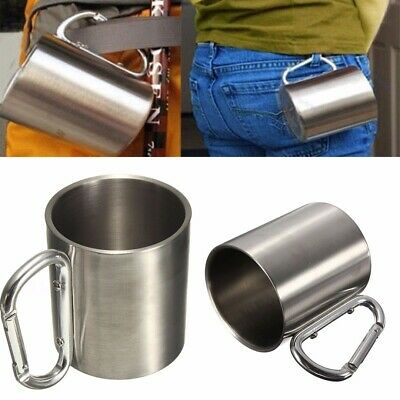 220ml Carabiner Hook Double Wall Camping Portable Cup Stainless Steel Coffee Mug