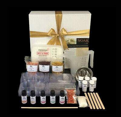 Gift boxed luxury soap making kit with natural exfoliants & colour