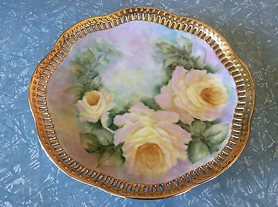 Vintage Hand Painted Plate With Gold Trim