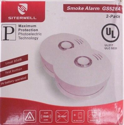 SITERWELL Smoke Detector and Battery Operated Fire Alarm GS528A Pack of 2