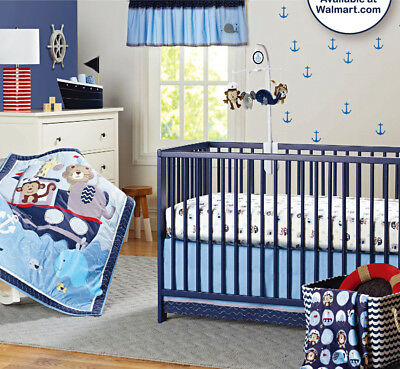 New Baby Girls Boys 8 Pieces Cotton Nursery Bedding Crib Cot Sets Blue