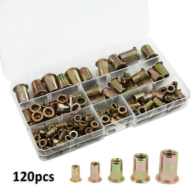 120pcs Rivet Nut Tool Kit Mixed Zinc Carbon Steel Threaded Rivnut Nutsert Insert