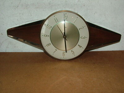 Vintage Retro Art Deco Wood & Stainless Steel Wood Wall Clock  Converted To Batt