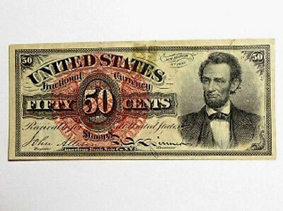 1863 Fractional Currency Fifty Cents Lincoln Fourth Issue Red Seal 50C Note
